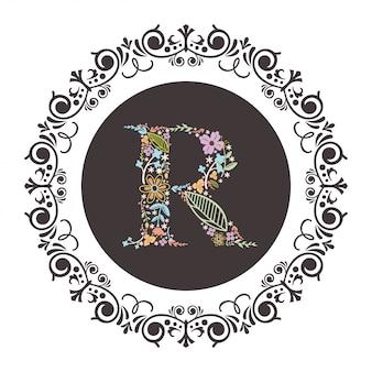Letter r aanvankelijk met florale vector