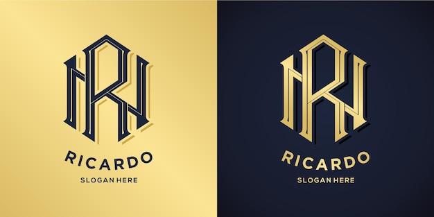 Letter r en n logo decoratieve stijl