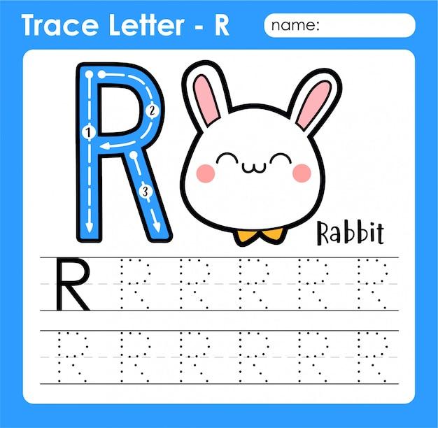 Letter r hoofdletters - alfabetletters overtrekken werkblad met konijn