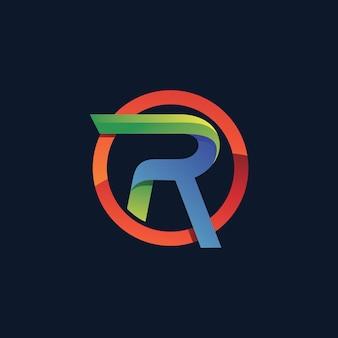 Letter r in cirkel logo sjabloon