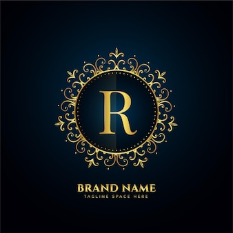 Letter r-logo concept met gouden bloemen