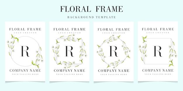 Letter r logo met florale frame achtergrond sjabloon