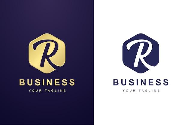 Letter r-logo met gedraaid lijnconcept