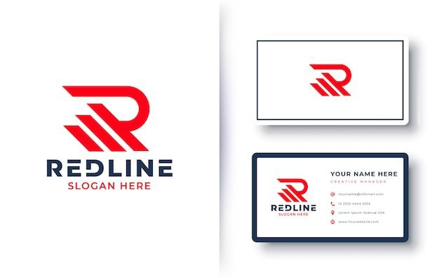 Letter r-logo met visitekaartje