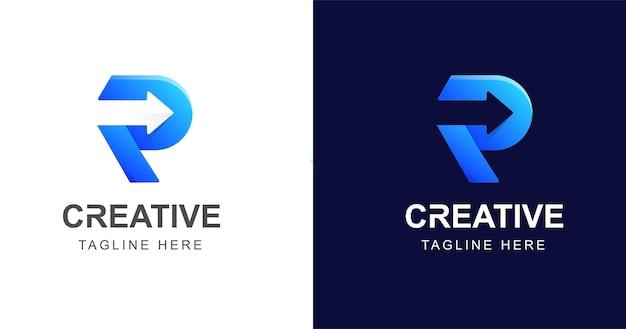 Letter r logo ontwerp met pijlpictogram