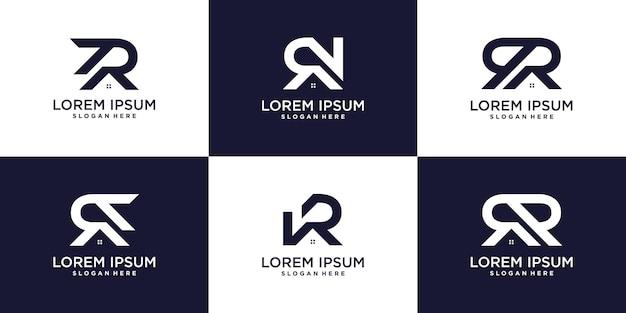 Letter r-logocollectie met huisconcept premium vector