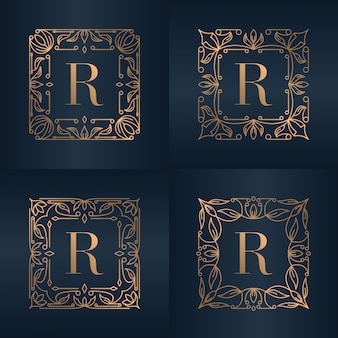 Letter r met luxe ornament bloemen frame