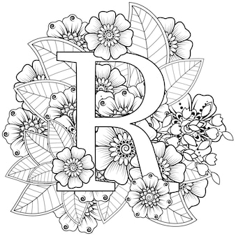 Letter r met mehndi bloem mehndi bloemdecoratie