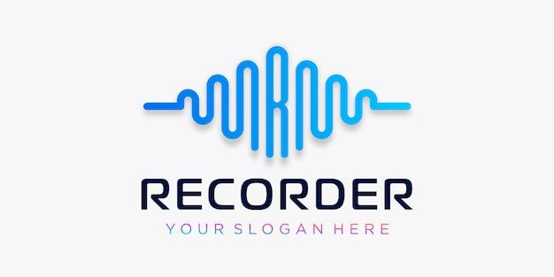 Letter r met pols. blokfluitelement. logo sjabloon elektronische muziek, equalizer, winkel, dj-muziek, nachtclub, disco. audiogolf logo concept, multimedia-technologie thema, abstracte vorm.