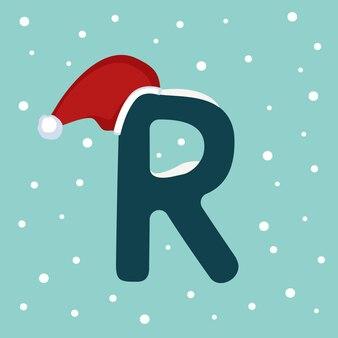 Letter r met sneeuw en rode kerstman hoed. feestelijk lettertype voor kerstmis en nieuwjaar
