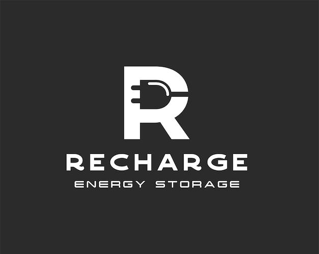Letter r met symbool voor lading of stopcontact. ontwerpsjabloon voor snel opladen van bedrijfslogo