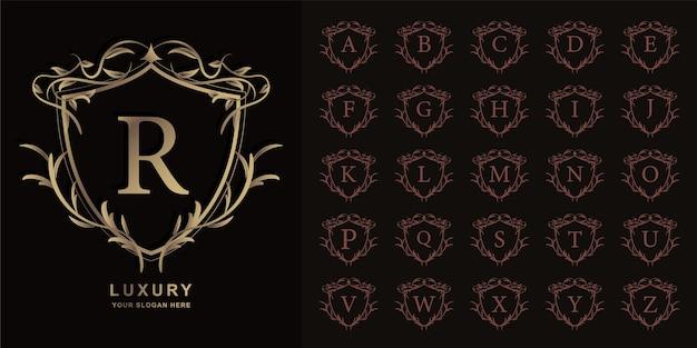 Letter r of collectie eerste alfabet met luxe sieraad bloemen frame gouden logo sjabloon.