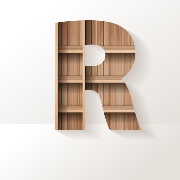 Letter r-ontwerp van houten plank