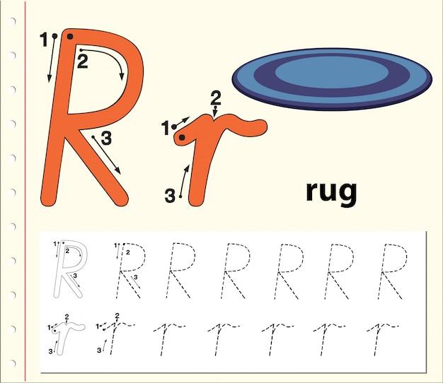 Letter r tracing alfabet werkbladen