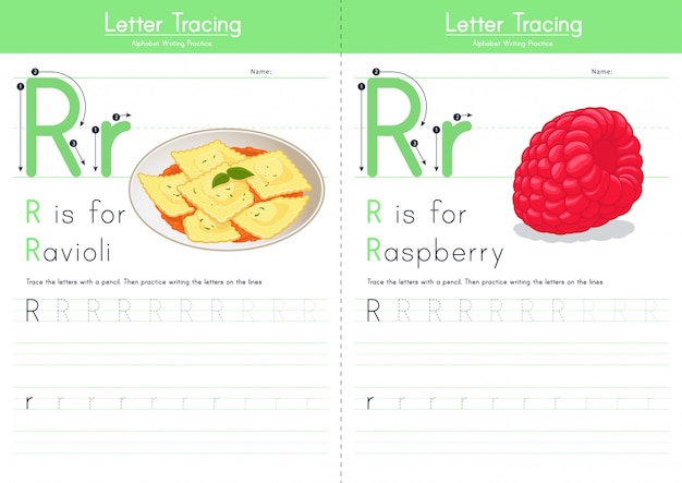 Letter r tracing food alphabet