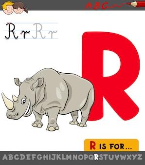 Letter r-werkblad met neushoorndier