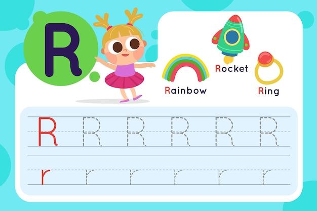Letter r-werkblad met regenboog en raket