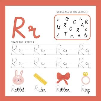 Letter r-werkbladsjabloon
