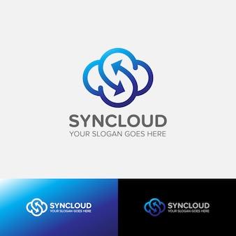 Letter s cloud-logo synchroniseert internet