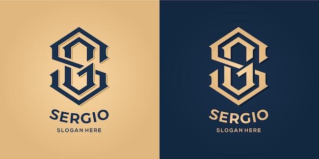 Letter s en g logo decoratieve stijl