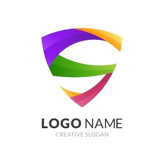 Letter s en schild logo concept, moderne logostijl in levendige kleuren met verloop