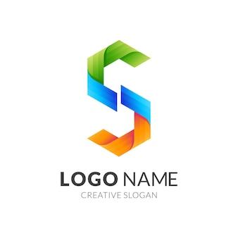 Letter s logo-ontwerp met 3d-kleurrijke stijl, moderne pictogrammen