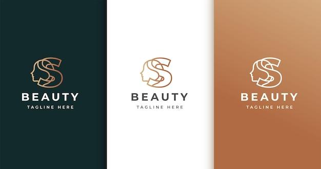 Letter s-logo-ontwerp met het gezicht van de vrouw