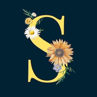 Letter s met bloemen