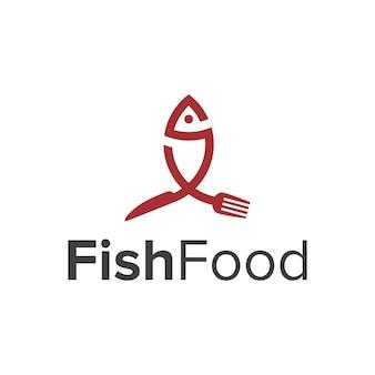 Letter s met vis en mes vork eten eenvoudig strak creatief geometrisch modern logo-ontwerp