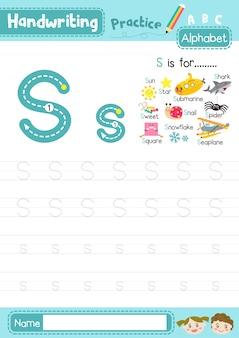 Letter s oefenblad in hoofdletters en kleine letters