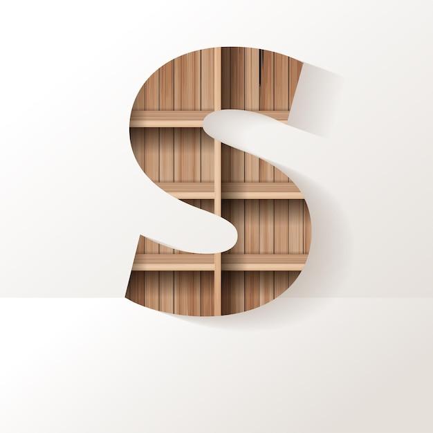 Letter s-ontwerp van houten plank