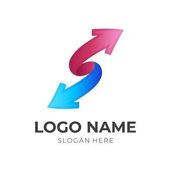 Letter s-pijllogo, letter s en pijl, combinatielogo met 3d-rode en blauwe kleurstijl