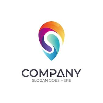 Letter s + pin-logo