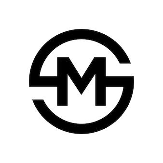 Letter s-symbool combinatie met letter m