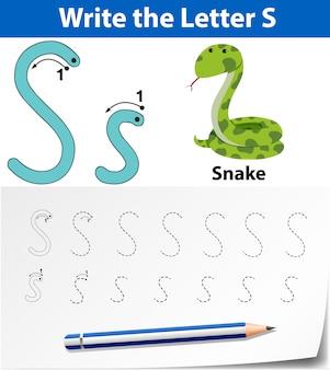 Letter s tracing alfabet werkbladen