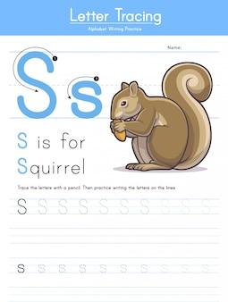 Letter s tracing animal alphabet s voor eekhoorn