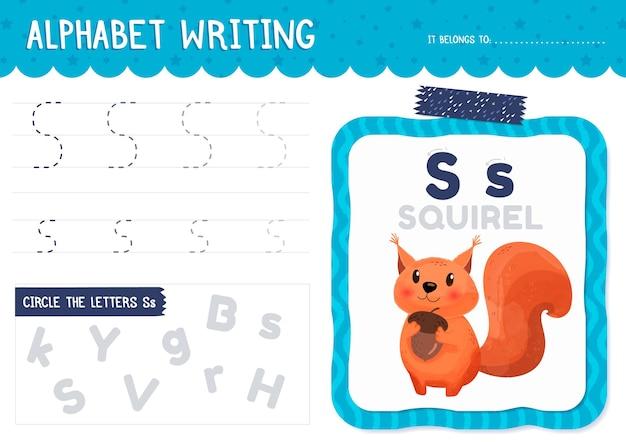 Letter s werkblad met squirel