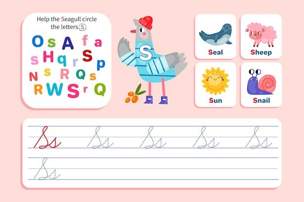 Letter s werkblad met zeemeeuw
