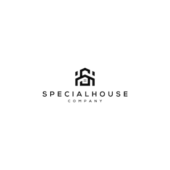 Letter sh logo met thuissjabloon