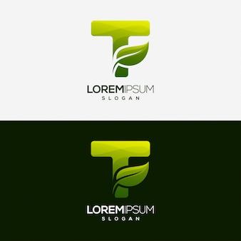 Letter t blad gradiëntkleur logo sjabloon