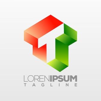 Letter t logo, illustratie