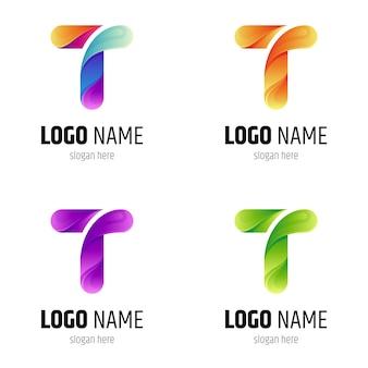Letter t logo kleurvariatie