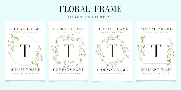 Letter t logo met florale frame achtergrond sjabloon