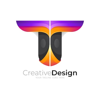 Letter t-logo ontwerp, 3d-kleurrijke stijl, pictogram vector