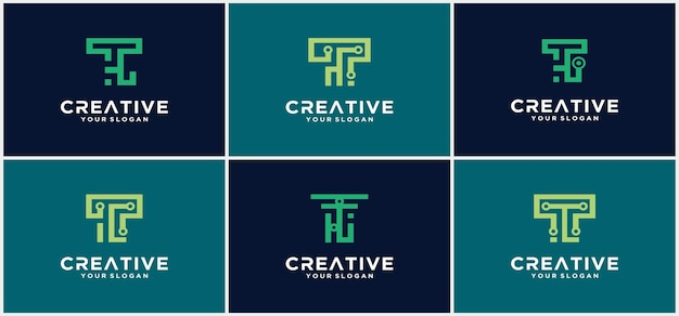 Letter t-logo sjabloon. abstracte pictogram. creatieve letter t logo vector ontwerpsjabloon. technologie t-lettertype.