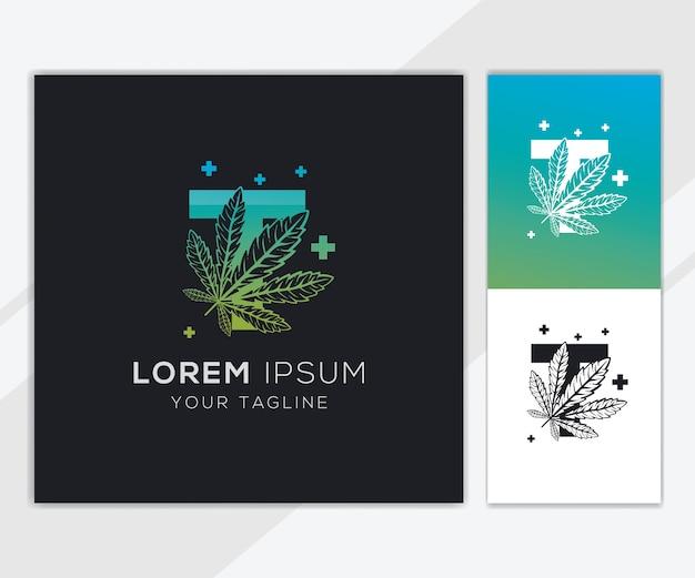 Letter t met abstracte cannabis logo sjabloon