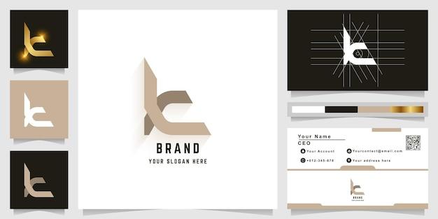 Letter t of k monogram logo met visitekaartje ontwerp
