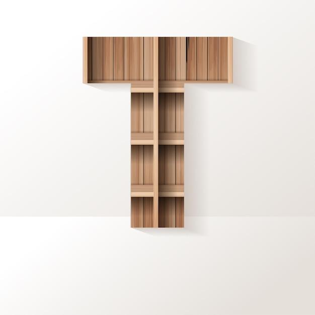Letter t-ontwerp van houten plank