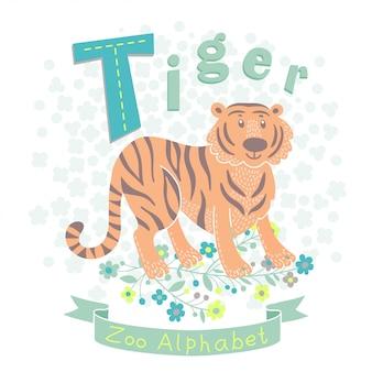 Letter t - tiger illustratie