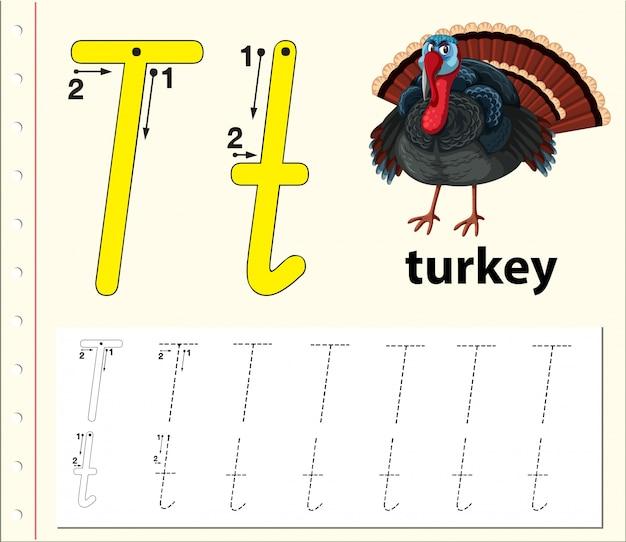 Letter t tracing alfabet werkbladen